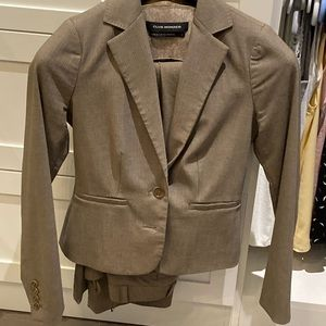 Tan pin striped suit and pants